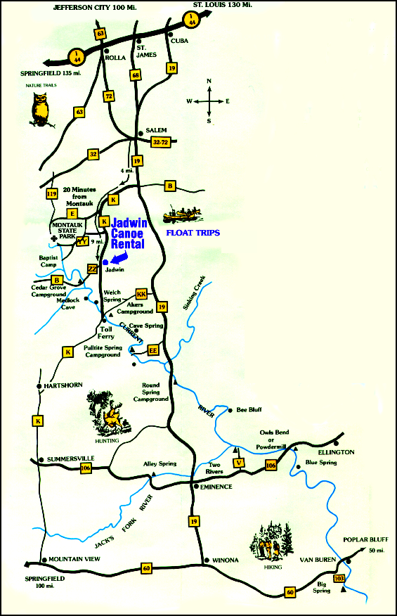 Current River Map Current River Area Map | Jadwin Canoe Rental
